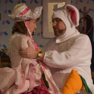 Affections of May scene with Hank in a bunny suit, and May as Little Bo Peep.